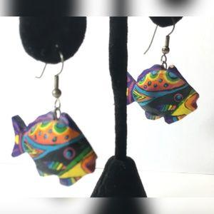 Earrings 3D Tropical Fish Colorful Paper Mache 1.5